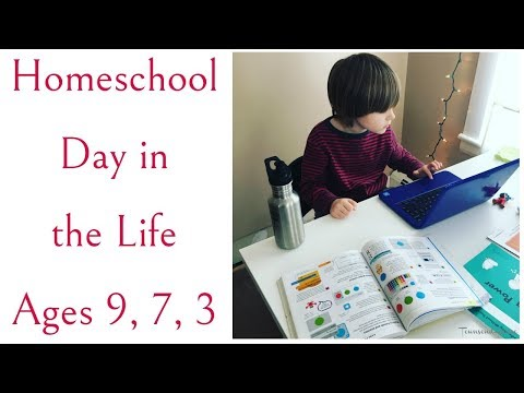 Homeschool Day in the Life with ages 9, 7, 3