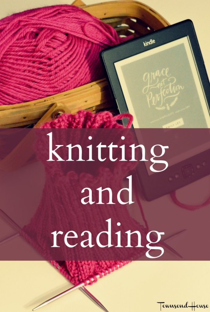 knitting and reading yarn along