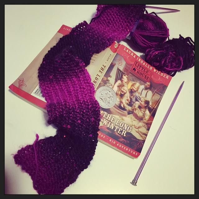 knitting reading yarn along yarnalong