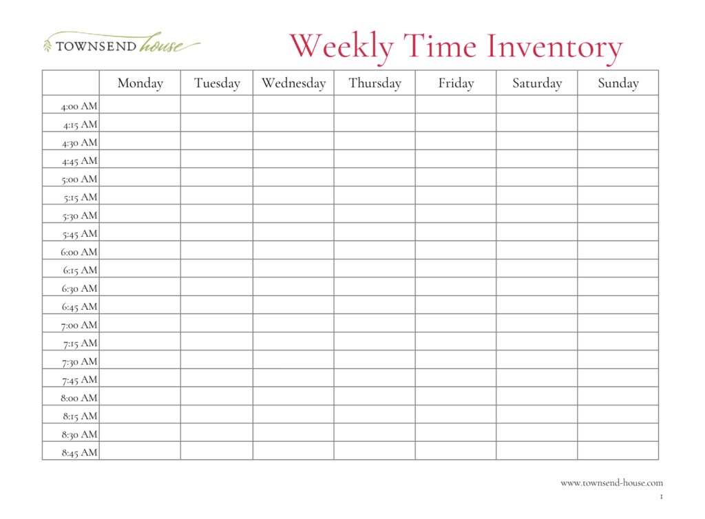 Weekly Time Inventory