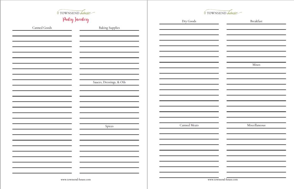 Food Inventory Printable