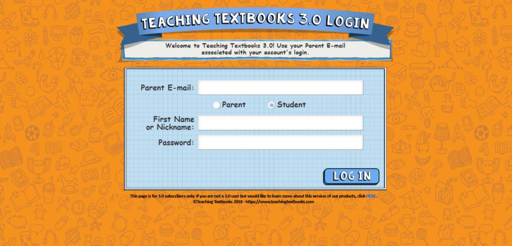 Teaching Textbooks 3.0 Login Page