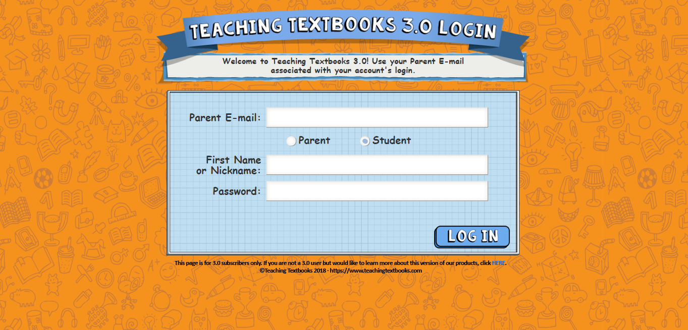 Teaching Textbooks 3.0 Login Page